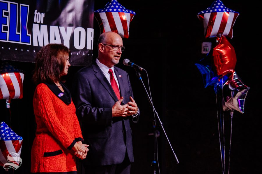 Susie Longwell stands with her husband Jeff while he tells the crowd that he did not win the Mayoral election during the watch party on Tuesday, Nov. 5 at WAVE in downtown Wichita. Brandon Whipple won the race and will be the next Mayor of Wichita.