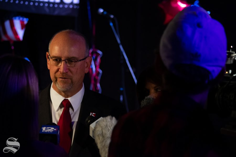 Mayor Jeff Longwell speaks to local news reporters during his mayoral election watch party on Tuesday, Nov. 5 at WAVE in downtown Wichita. Brandon Whipple won the election and will be the next Mayor of Wichita.