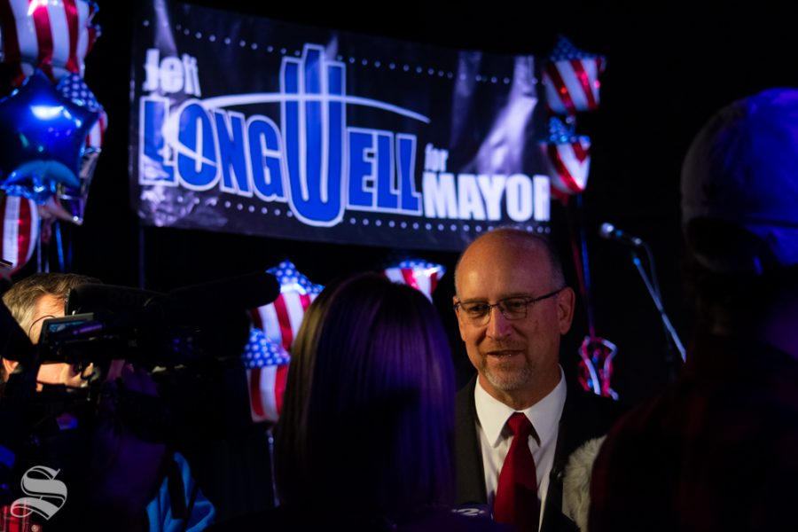 Mayor Longwell speaks to reporters during his mayoral election watch party on Tuesday, Nov. 5 at WAVE in downtown Wichita. Brandon Whipple won the election and will be the next Mayor of Wichita.