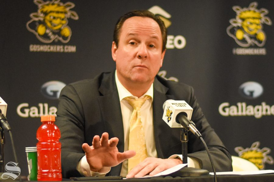 Head+Coach+Gregg+Marshall+responds+to+questions+during+the+press+conference+after+the+game+against+Omaha.