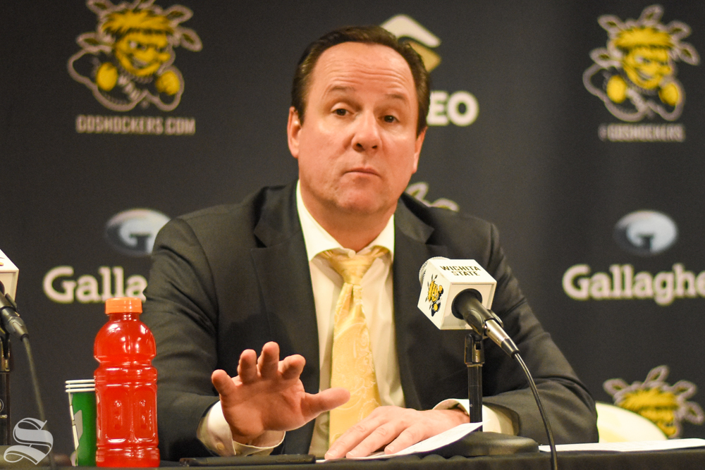 Head Coach Gregg Marshall responds to questions during the press conference after the game against Omaha.