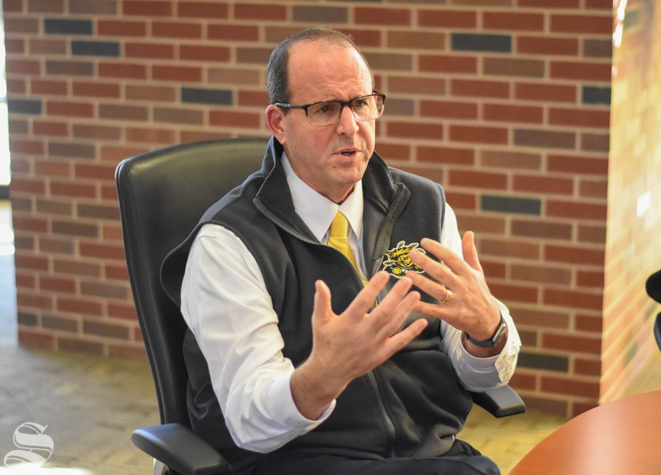 Jay Golden, who will take over as WSU's 14th president in January, answers questions during an interview with The Sunflower on Friday morning. The Kansas Board of Regents named Golden the new president on Thursday after a months-long closed search process.