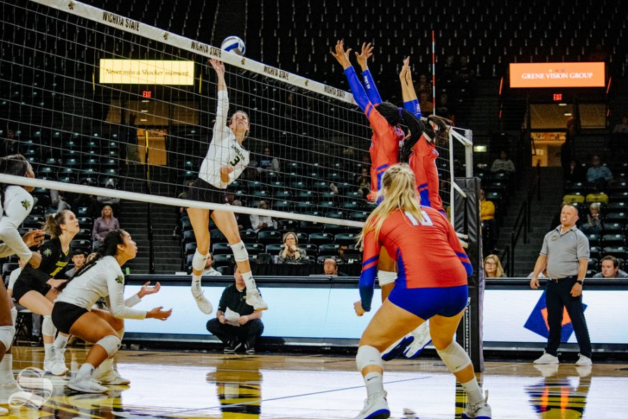 Freshman+Brylee+Kelly+jumps+to+attack+the+ball+during+Wichita+State%27s+match+against+Southern+Methodist+University+on+Friday%2C+Nov.+8+in+Charles+Koch+Arena.
