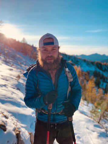Wichita State senior Joshua Gribble stands mountainside while on the Pacific Crest Trail. The 2,650-mile trail was his latest hiking challenge.
