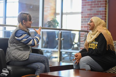 Sunflower reporter Lindsay Smith conducts an interview with junior Saniya Ahmed regarding her passion for starting the first Muslim-based sorority, Mu Delta Alpha, at Wichita State University.