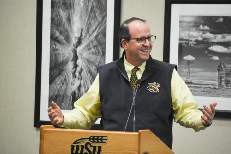 President-elect Jay Golden speaks at a Student Government Association meeting in December.