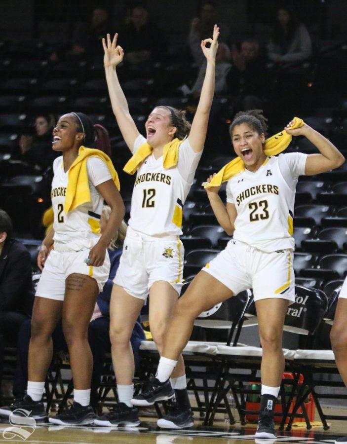 Shockers celebrate after scoring against Arkansas Pine-Bluff Monday, Dec. 16, 2019 at Charles Koch Arena