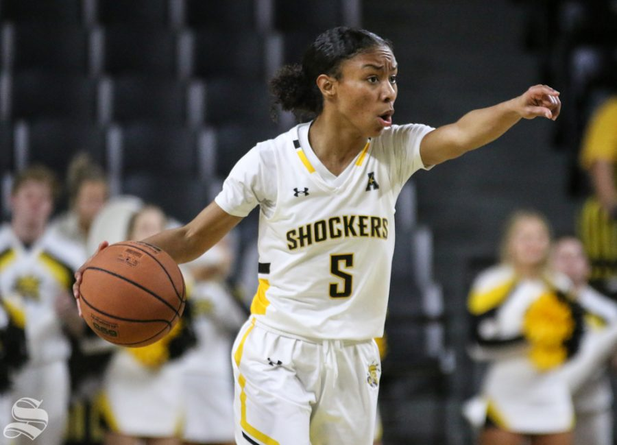Wichita+State%27s+Ashley+Reid+calls+a+play+during+the+game+against+Arkansas+Pine-Bluff+at+Charles+Koch+Arena+Monday%2C+Dec.+16%2C+2019.