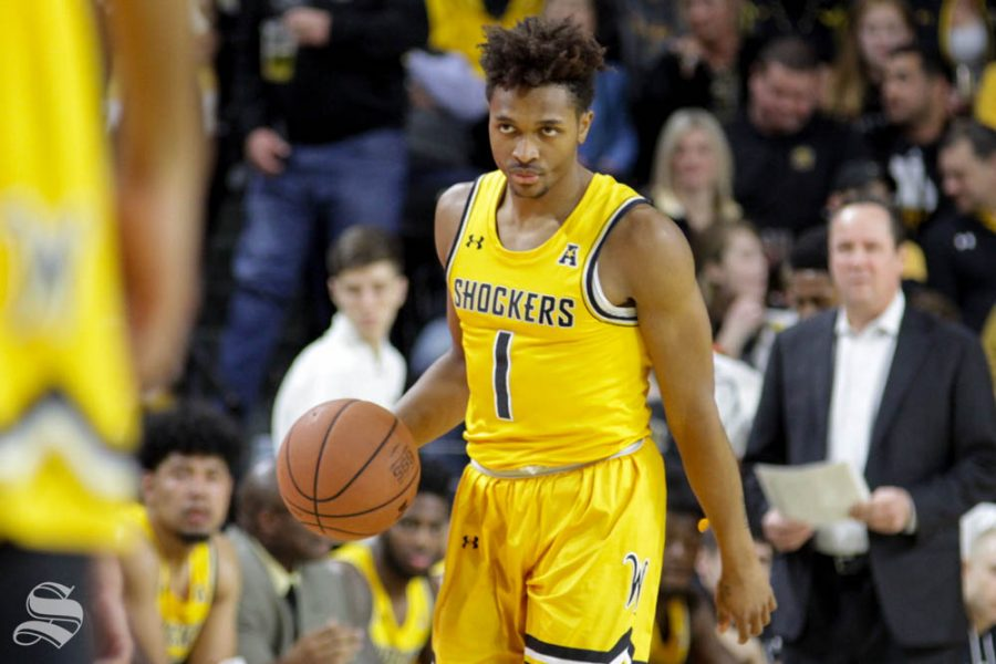 Wichita+State+freshman+Tyson+Etienne+dribbles+the+ball+up+the+floor+during+the+first+half+of+the+game+on+Thursday+against+Central+Arkansas+inside+Charles+Koch+Arena.