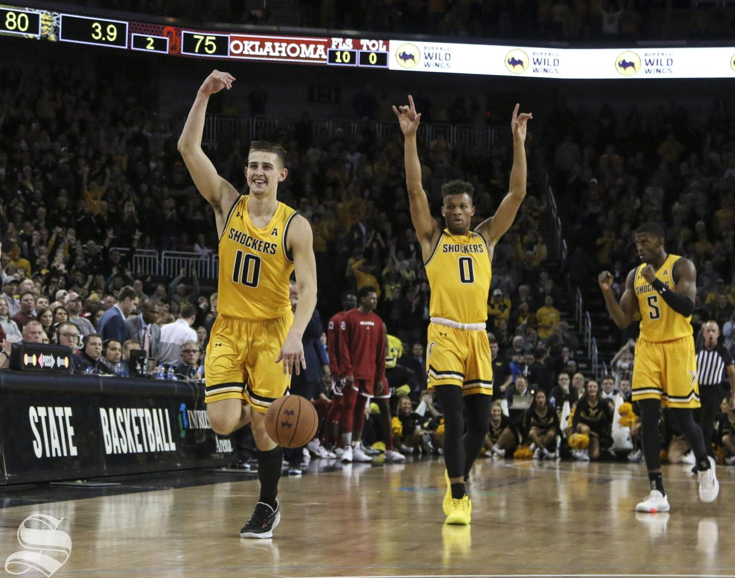 Shockers celebrate after winning against Oklahoma at Intrust Bank Arena Saturday, Dec. 14, 2019.