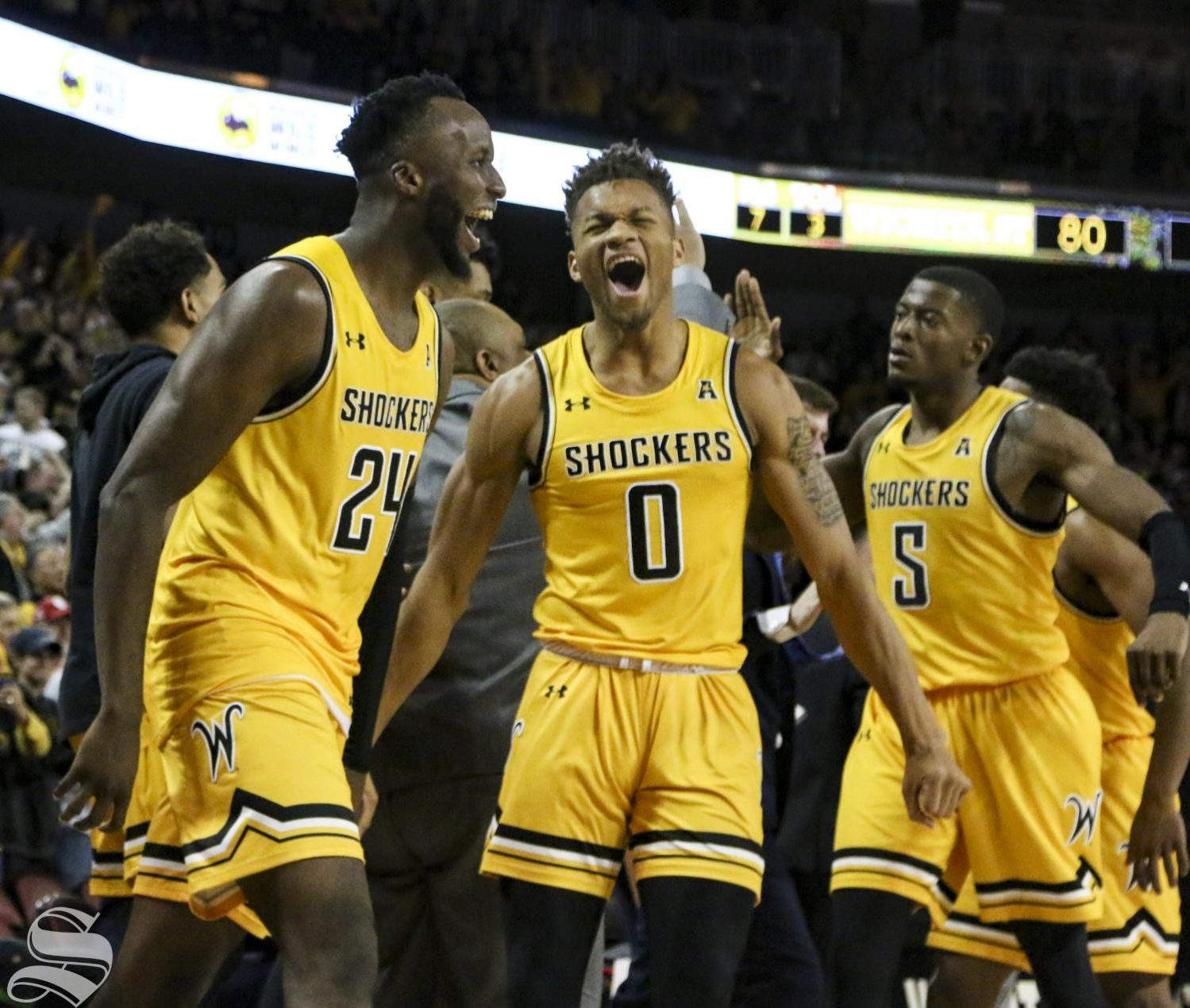 Shockers celebrate after winning against Oklahoma at Intrust Bank Arena on Saturday, Dec. 14, 2019.