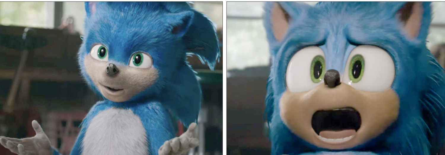 Left, the original animation of Sonic the Hedgehog. Right, Sonic after a $5 million redesign.