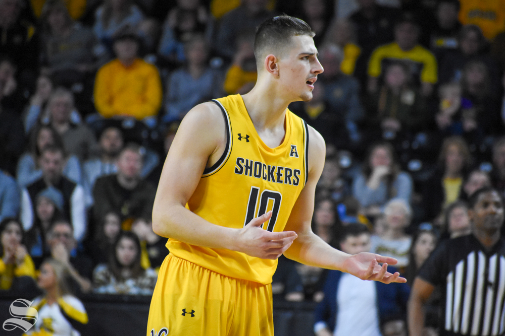 Sophomore Erik Stevenson questions a call made against the Shockers during the game against Abilene Christian on Sunday, Dec. 29.