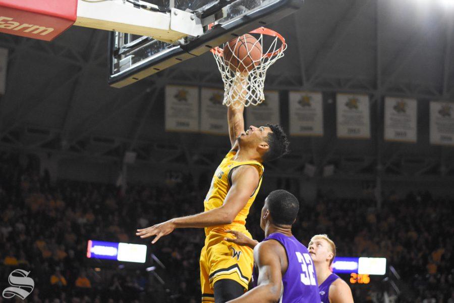 Senior+Jaime+Echenique+dunks+on+Abilene+Christian+during+the+game+on+Sunday+inside+Charles+Koch+Arena.