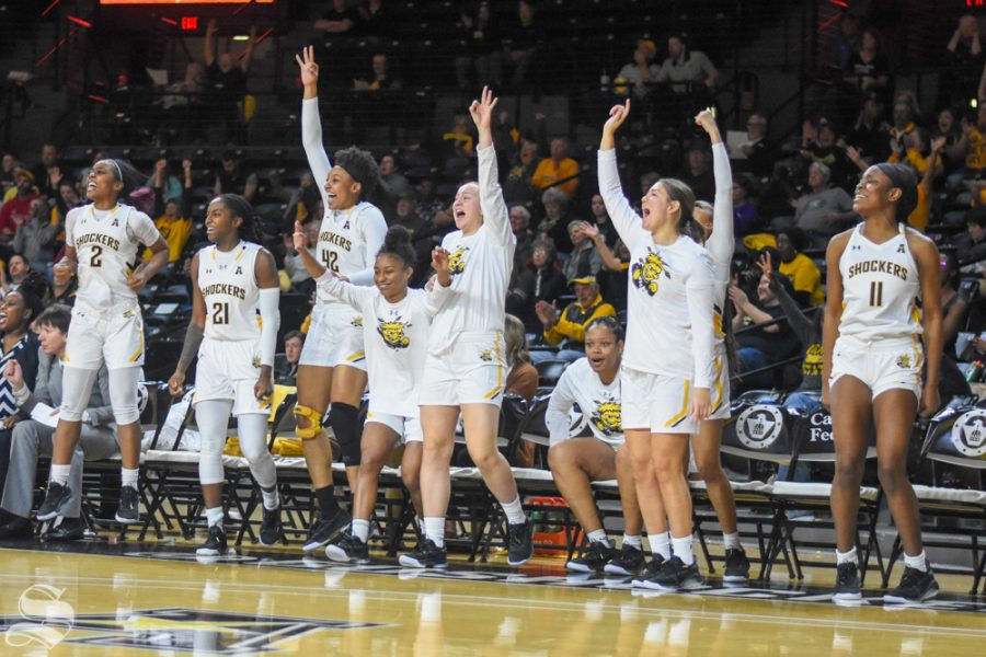 Wichita+State+players+celebrate+from+the+bench+after+scoring+a+three+against+the+Oklahoma+Sooners+on+Saturday%2C+Nov.+30+inside+Charles+Koch+Arena.