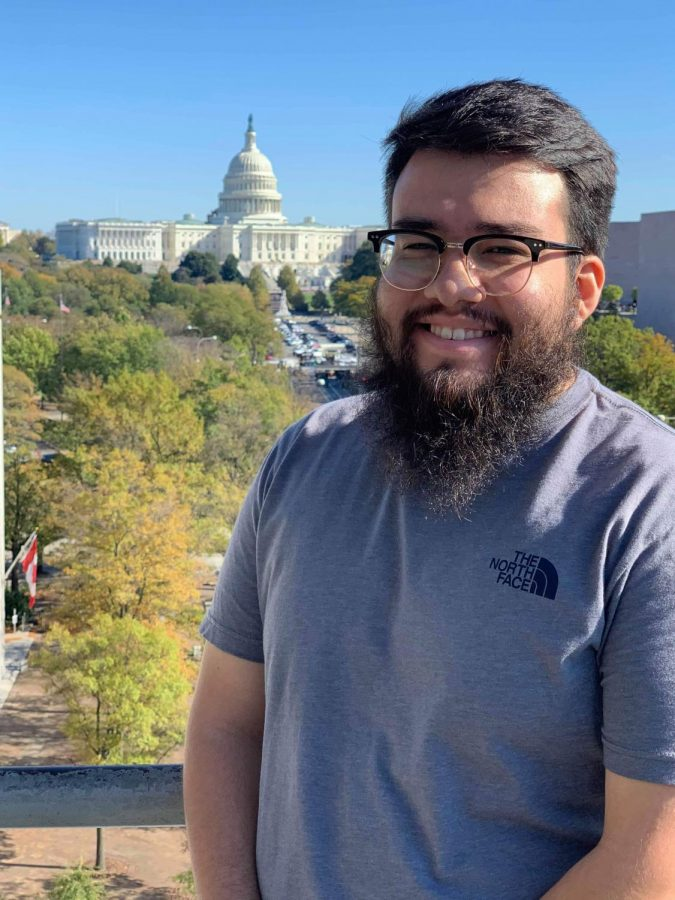 Multimedia Editor Eduardo Castillo on the Newseum balcony during The Sunflower's trip to Washington D.C. for the fall national media convention.