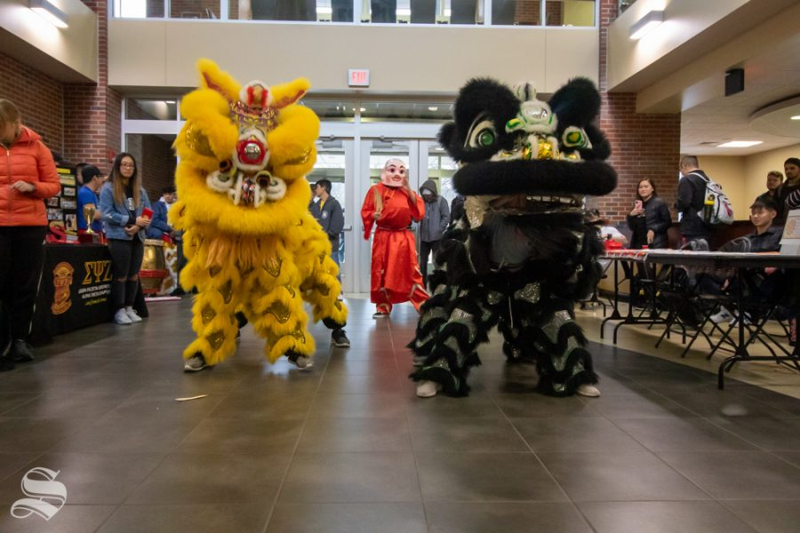 During the Lunar New Year Event hosted by Wichita State Office of Diversity and Inclusion. Wichita State International admissions, and the Asian Student Conference there was a performance by St. Anthony Lion and Dragon Dance Team.