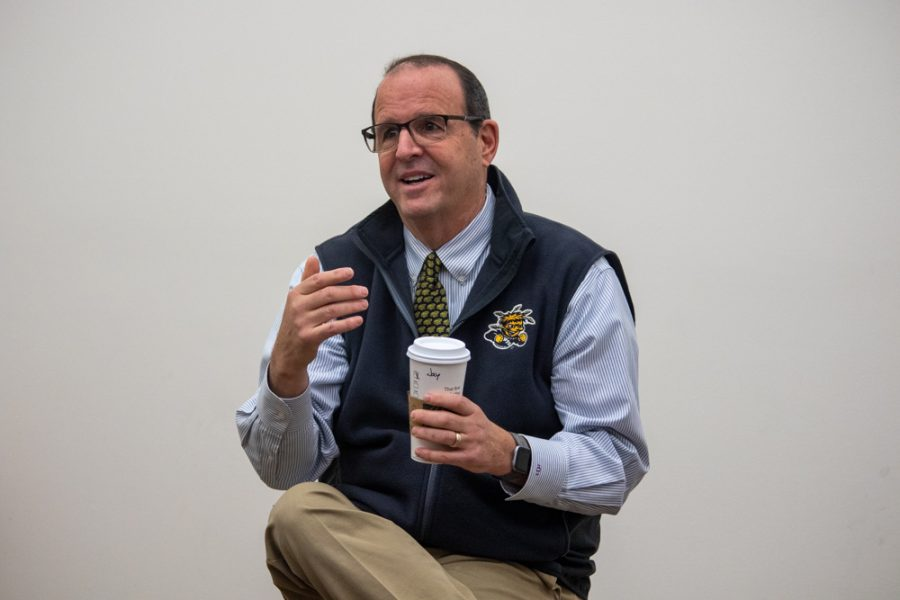 President Jay Golden addresses fine arts students at a town hall on Friday.