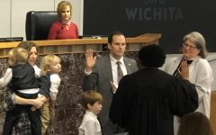 Brandon Whipple is sworn in as the 102nd Mayor of Wichita on Monday, Jan. 13 at City Hall.
