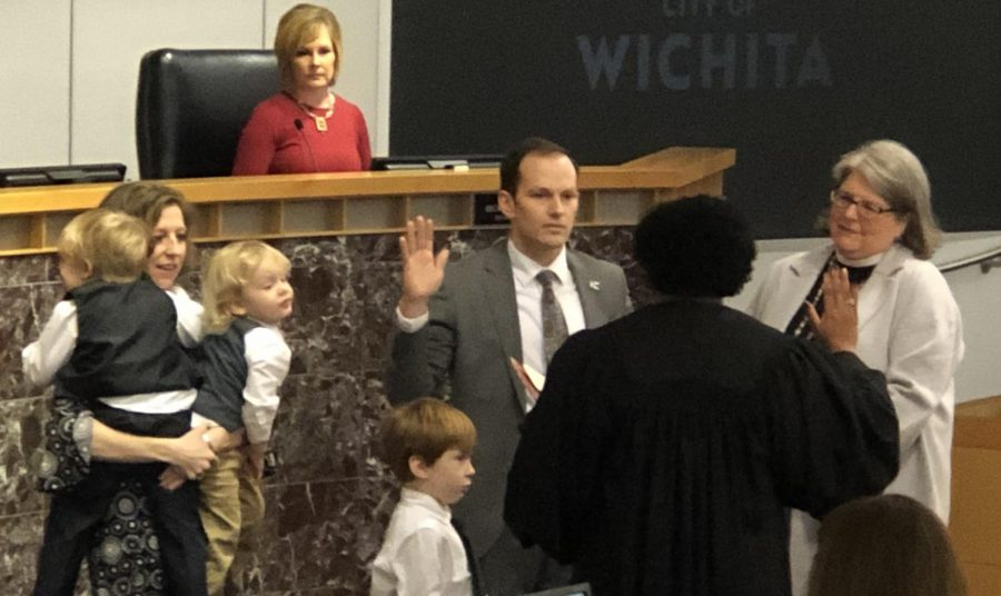 Brandon+Whipple+is+sworn+in+as+the+102nd+Mayor+of+Wichita+on+Monday%2C+Jan.+13+at+City+Hall.