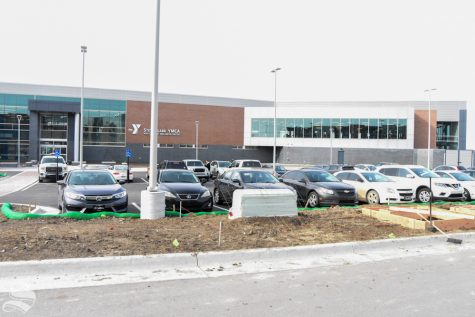 The parking lot outside of the new Steve Clark YMCA. Students are now allowed to park in it for up to two hours if they are using the new facility.
