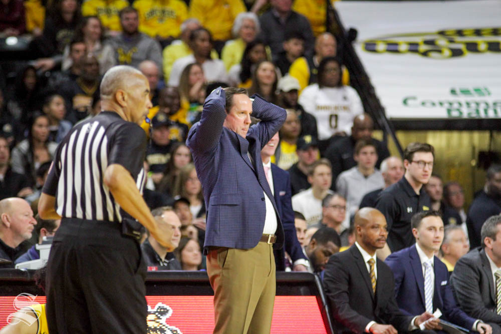 Wichita State head coach Gregg Marshall reacts to a foul call during the game against Houston on Saturday inside Charles Koch Arena.