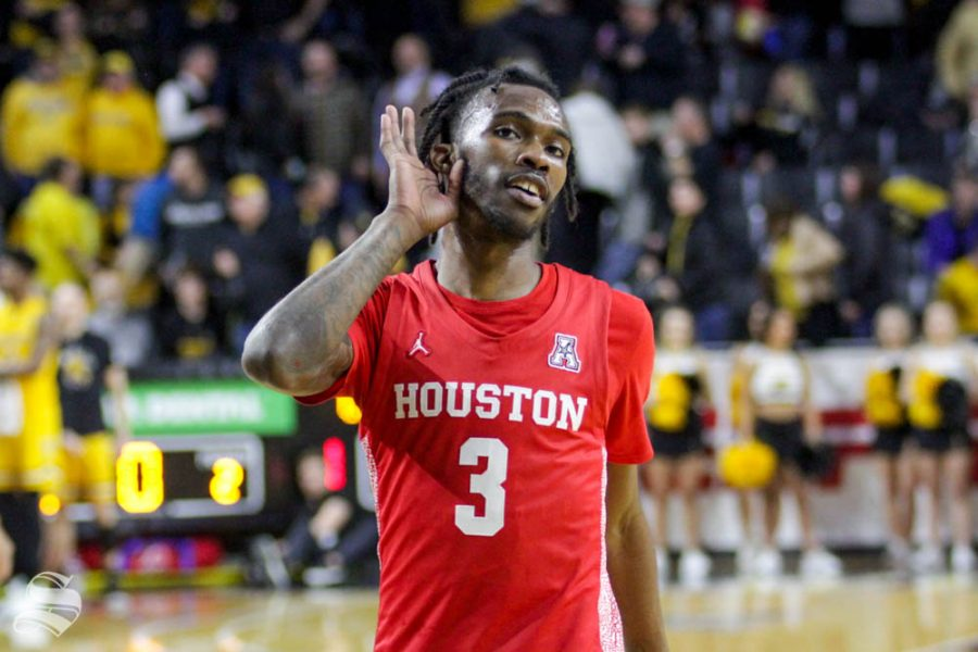 Houston's DeJon Jarreau motions to the Wichita State student section after the final buzzer on Jan. 18, 2020 inside Charles Koch Arena.