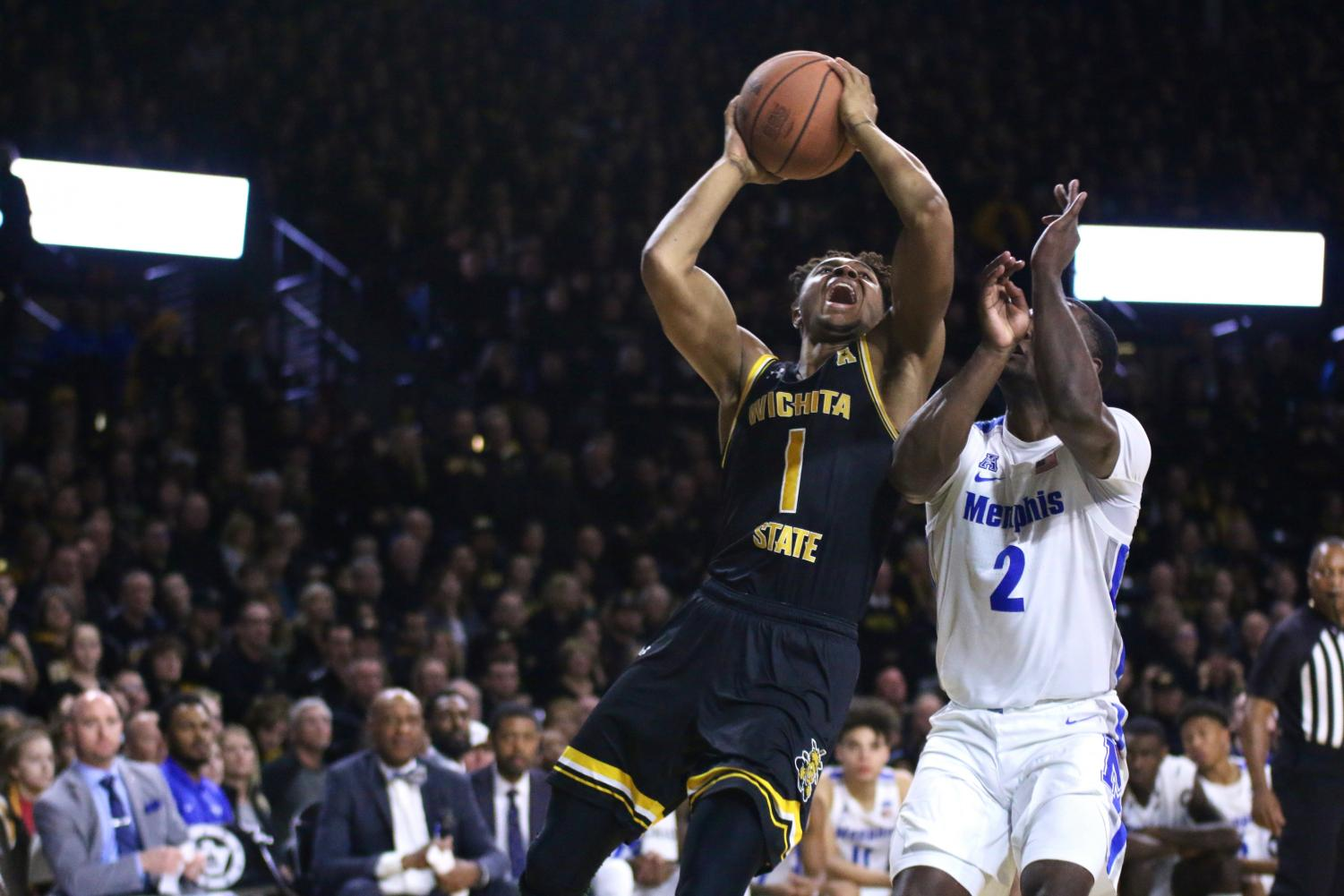 Wichita State freshman Tyson Etienne goes up for a layup during the game against Memphis on Saturday inside Charles Koch Arena.
