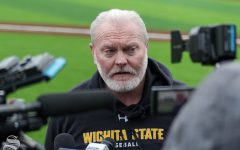 Wichita State baseball Head Coach Eric Wedge speaks to the media at baseball media day on Jan. 24 at Eck Stadium.