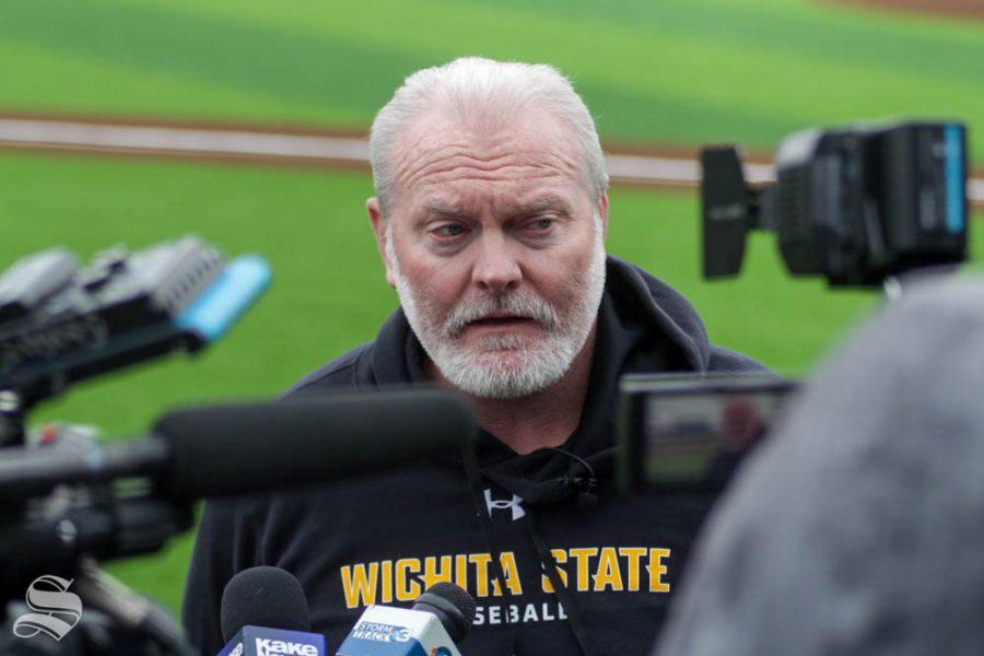 Wichita+State+baseball+Head+Coach+Eric+Wedge+speaks+to+the+media+at+baseball+media+day+on+Jan.+24+at+Eck+Stadium.