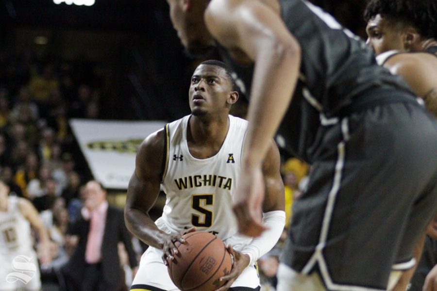 Wichita+State+junior+Trey+Wade+shoots+a+free+throw+during+the+first+half+of+the+game+against+Central+Florida+on+Jan.+25+inside+Charles+Koch+Arena.