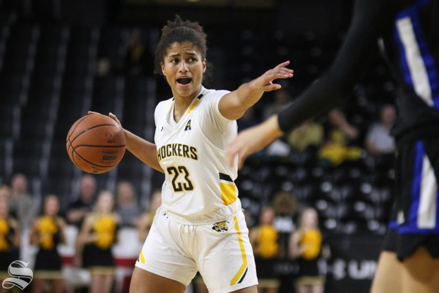 Wichita+State%27s+Seraphine+Bastin+calls+a+play+during+the+game+against+Tulsa+at+Charles+Koch+Arena+on+Wednesday%2C+Jan.+15%2C+2019.+