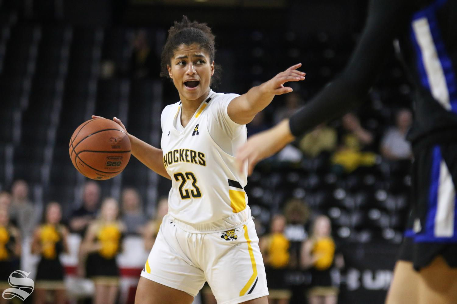 Wichita State's Seraphine Bastin calls a play during the game against Tulsa at Charles Koch Arena on Wednesday, Jan. 15, 2019.