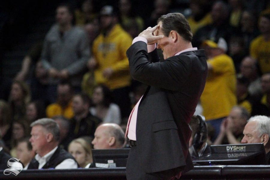 Wichita+State+Head+Coach+Gregg+Marshall+reacts+to+a+foul+call+during+the+second+half+of+the+game+against+Central+Florida+on+Jan.+25+inside+Charles+Koch+Arena.