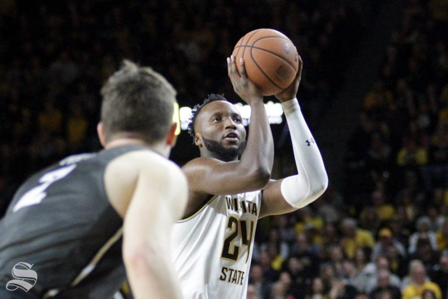 Wichita State sophomore Morris Udeze shoots a free throw during the second half of the game against Central Florida on Jan. 25 inside Charles Koch Arena.