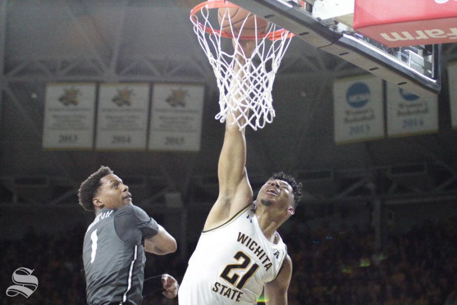 Wichita State senior Jaime Echenique dunks the ball during the second half of the game against Central Florida on Jan. 25 inside Charles Koch Arena.