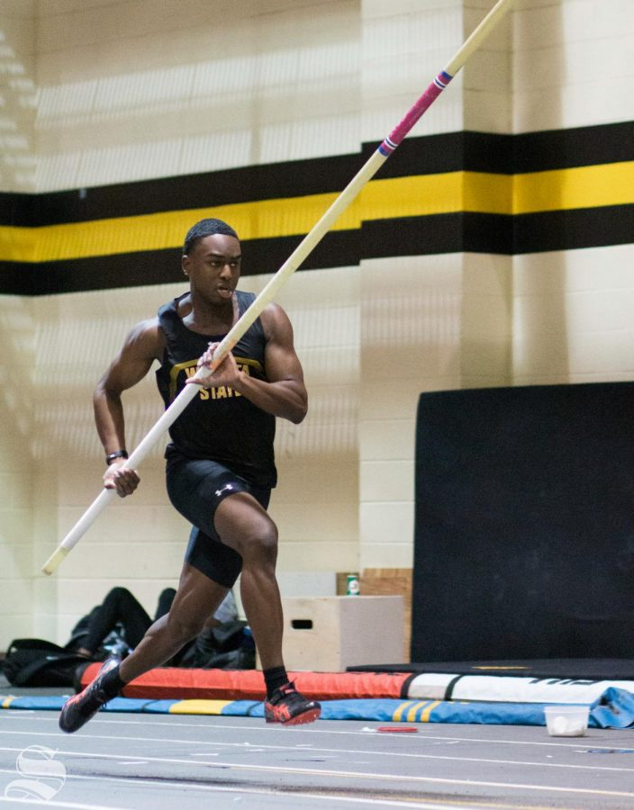 Wichita State junior Grant Downes competes in pole vault during the WSU Invitational at the Heskett Center on Friday, Jan. 31, 2020.