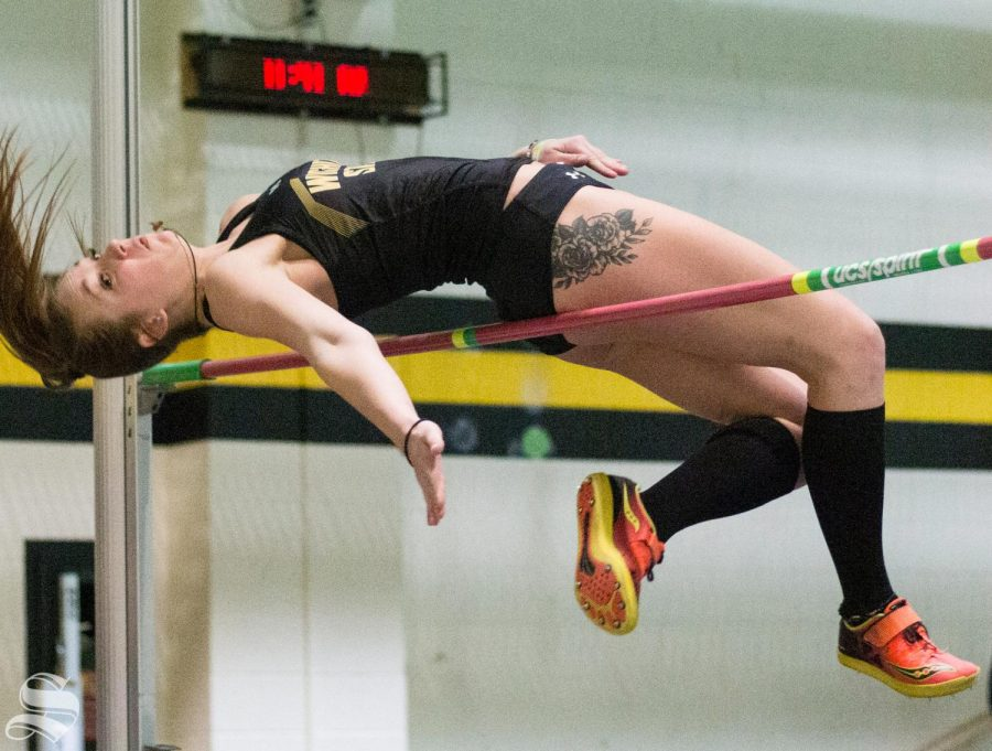 Wichita State redshirt senior Shania VanNoster high jumps during the WSU Invitational at the Heskett Center on Friday, Jan. 31, 2020.