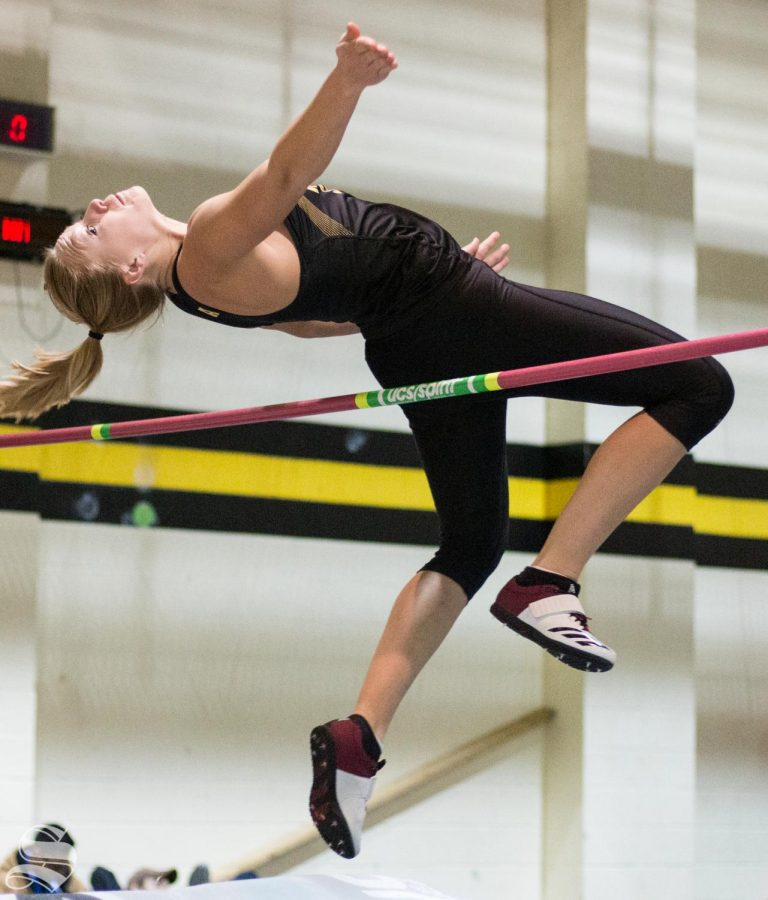 Wichita State redshirt junior Kendra Henry competes in high jump during the WSU Invitational at the Heskett Center on Friday, Jan. 31, 2020.