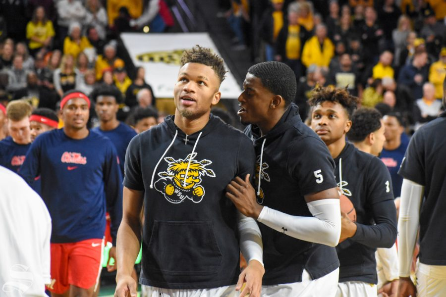 Wichita+State+junior+Trey+Wade+talks+to+Dexter+Dennis+prior+to+tip-off+of+the+game+against+the+Ole+Miss+Rebels+on+Saturday.