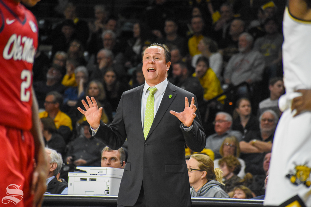 Head Coach Gregg Marshall yells to his team during the game against Ole Miss on Saturday.