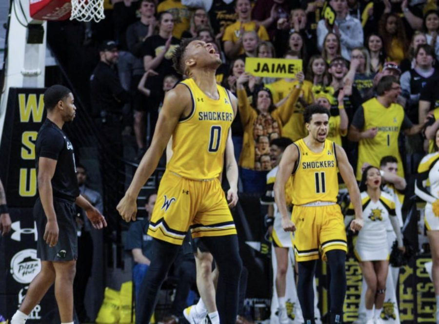 Wichita+State%E2%80%99s+Dexter+Dennis+%28center%29+and+Noah+Fernandes+%28right%29+celebrate+during+Wichita+State%E2%80%99s+victory+over+Tulane+Sunday+at+Charles+Koch+Arena.