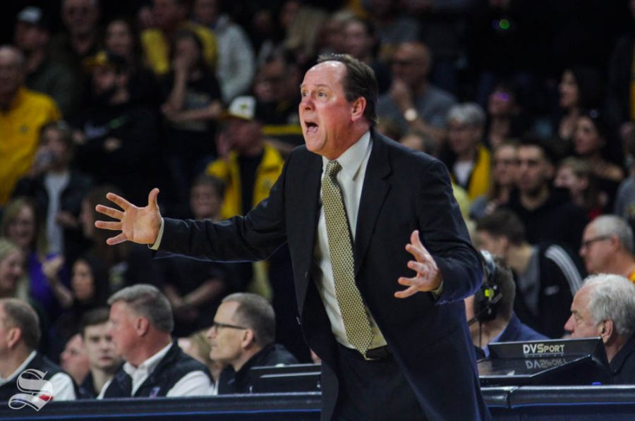 Wichita+State+Head+Coach+Gregg+Marshall+yells+towards+his+players+during+the+first+half+of+the+game+against+Tulane+on+Feb.+16+inside+Charles+Koch+Arena.