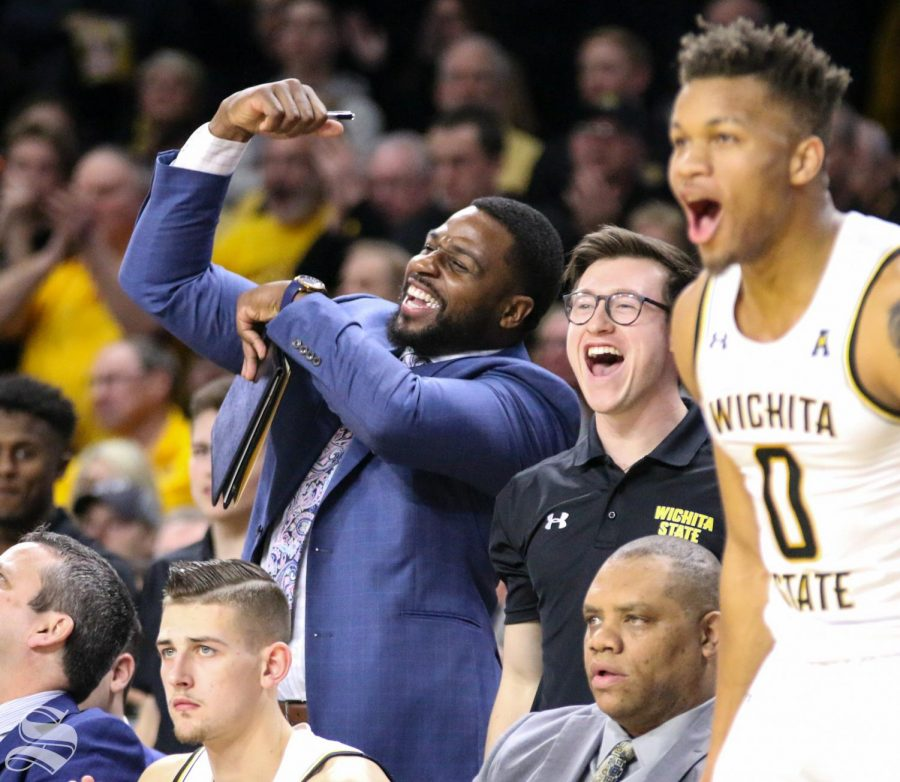 Wichita+State+graduate+manager+Ben+Smith+celebrates+from+the+bench+during+the+game+against+Cincinnati+at+Charles+Koch+Arena+on+Thursday%2C+Feb.+6%2C+2020.+