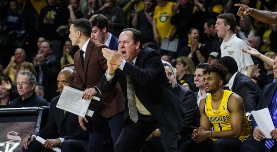 Wichita State Head Coach Gregg Marshall celebrates during the first half of the game against Tulane on Feb. 16 inside Charles Koch Arena.