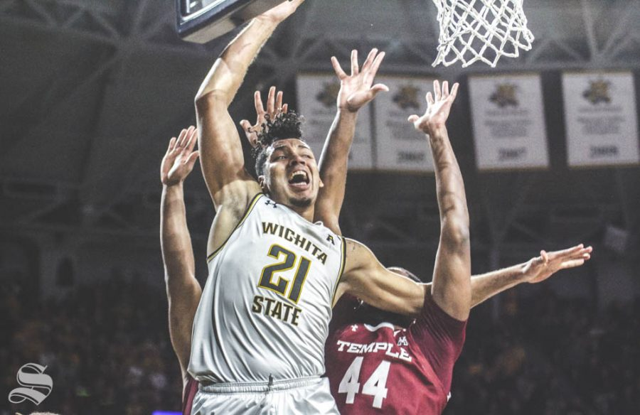 Wichita State senior Jaime Echenique reacts after being stripped during the first half of the game against Temple on Feb. 27 inside Charles Koch Arena.