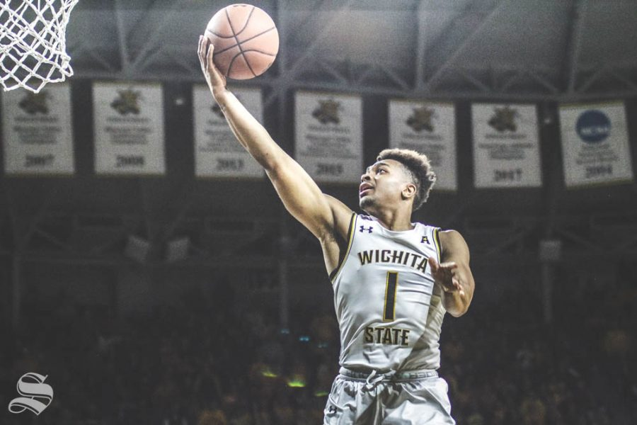 Wichita State freshman Tyson Etienne goes up for a layup during the first half of the game against Temple on Feb. 27 inside Charles Koch Arena.