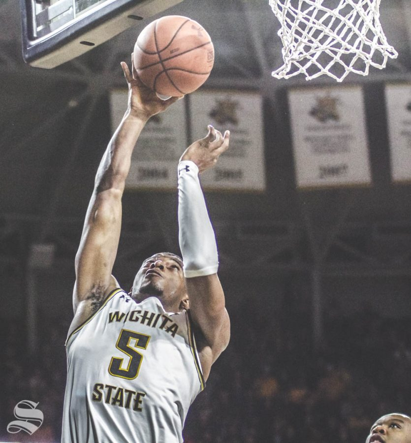 Wichita State junior Trey Wade goes up for a layup during the first half of the game against Temple on Feb. 27 inside Charles Koch Arena.