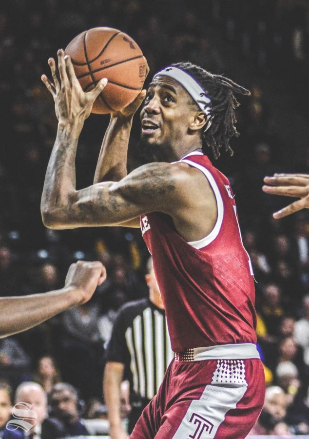Temples Quinton Rose prepares to go up for a shot during the game against Wichita State on Feb. 27 inside Charles Koch Arena.