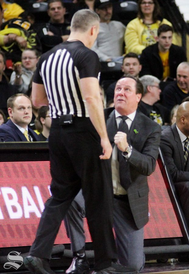Wichita State head coach Gregg Marshall pleads to a referee after a foul call during the second half of the game against Temple on Feb. 27 inside Charles Koch Arena.